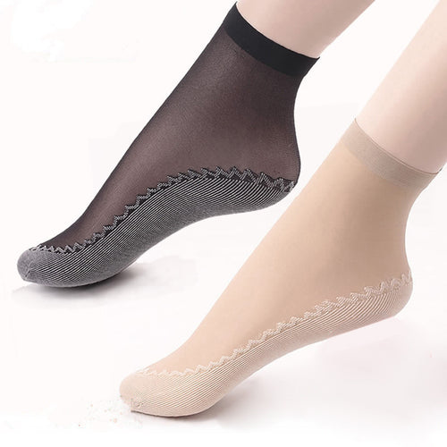 5Pairs Summer Thin Short Socks Women Female Girls Ankle Socks Bottom Thick Socks Wear-Resistant Moisture Wicking Slip-Resistant