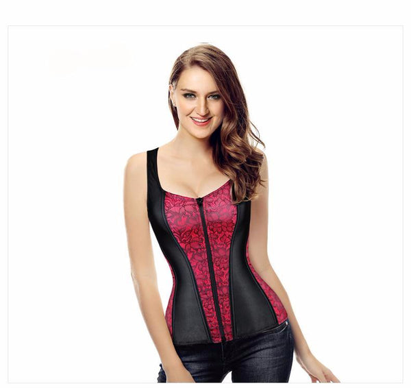 Sexy Women Waist Trainer Corset Lace and Satin Halter Corsets