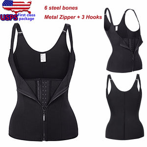 Adjustable Shoulder Strap Waist Trainer Vest Corset Women Metal Zipper Hook Body Shaper Waist Cincher Tummy Control