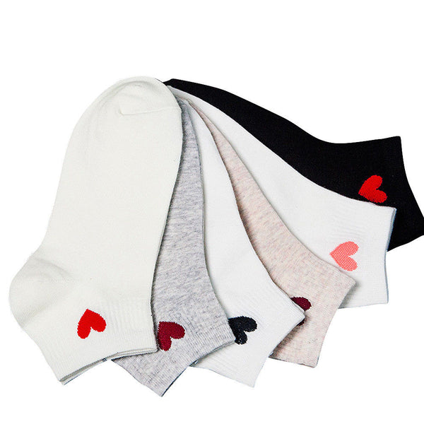 Red Heart Cute College Wind Simple Basic Fresh Female Socks Warm Comfortable Cotton Spring And Summer Hot Sale