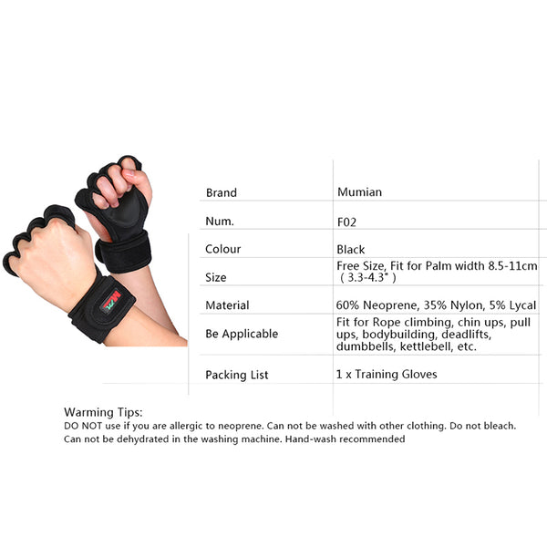 Professional Sports Gloves Gym Fitness Weightlifting Gloves Dumbbell Barbell Training Wrist Hand Grip Weight Lifting Equipment