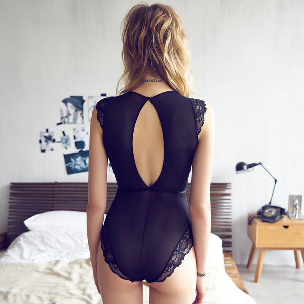 Thin Floral Hollow Out Ladies Sexy Lace Bodysuits Black Female Transparent Shapewear