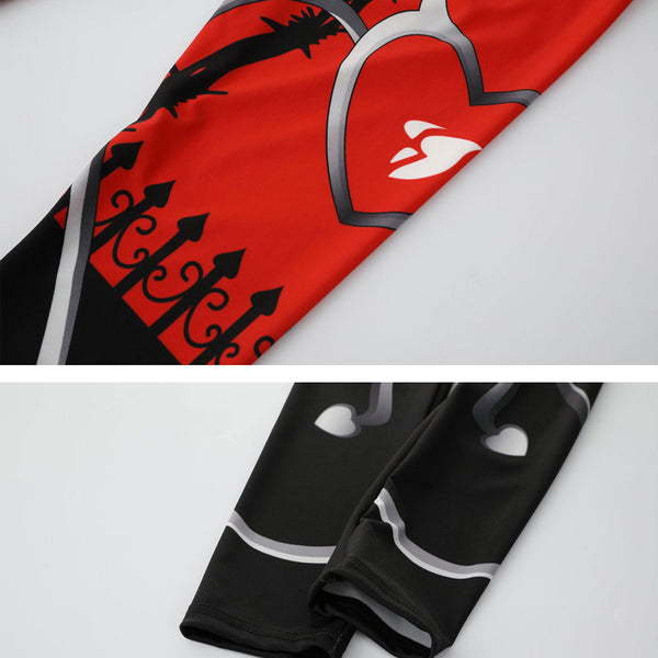 Sexy Heart Print Leggings Women Red Black Patchwork Sporting Pants