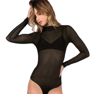 Bodysuit Sexy Romper Black Mock Neck Long Sleeve Hollow Out Back Mesh Bodysuit