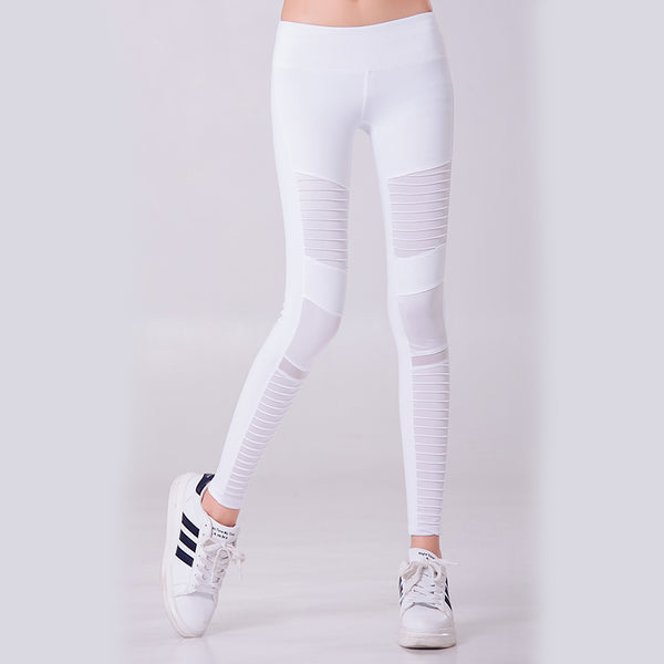 Women Sports Yoga Pants Pleated Mesh Compression Gym Slim Pleat Splicing Coast leggings