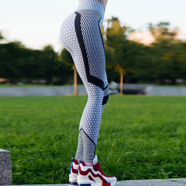 Black And White Honeycomb Printed Women's Leggings Push Up Elastic Slim Leggings