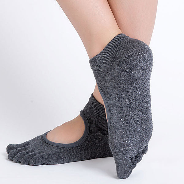 Yoga Socks Anti-slip Five Fingers Backless Silicone Non-slip 5 Toe Socks Ballet Gym Fitness Sports Cotton Socks