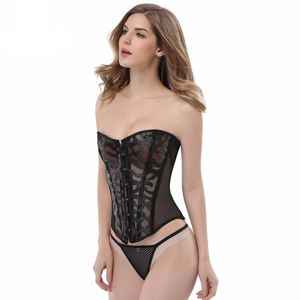 Transparent Women Corsets Body Sculpting Breathable Sexy Mesh Corsets