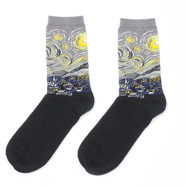 Retro Women New Art Van Gogh Mural World Famous Oil Painting Series Men Socks Funny Socks