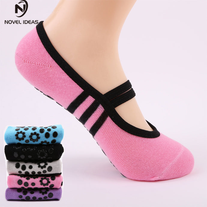 Women Anti Slip Bandage Cotton Sports Yoga Socks Ladies Ventilation Pilates Ballet Socks Dance Sock Slippers 6Colours