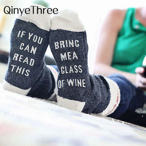 Custom wine socks If You can read this Bring Me a Glass of Wine Socks autumn spring fall