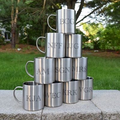 Custom Lasered Initials Stainless Steel Mugs
