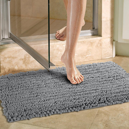 Norcho 20 inch by 31 inch Non-slip Absorbent Microfiber Bathroom Soft Bath Mat Grey