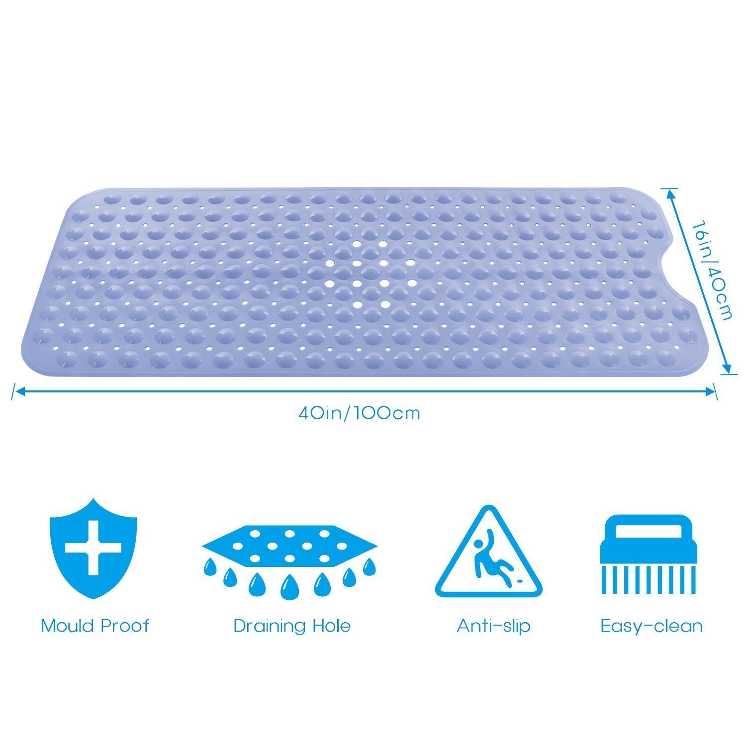 Norcho Anti Slip Bathtub Mat Extra Long for Bathroom with Suction Grip