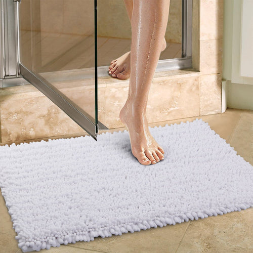 Norcho 20 inch by 31 inch Non-slip Absorbent Microfiber Bathroom Soft Bath Mat White