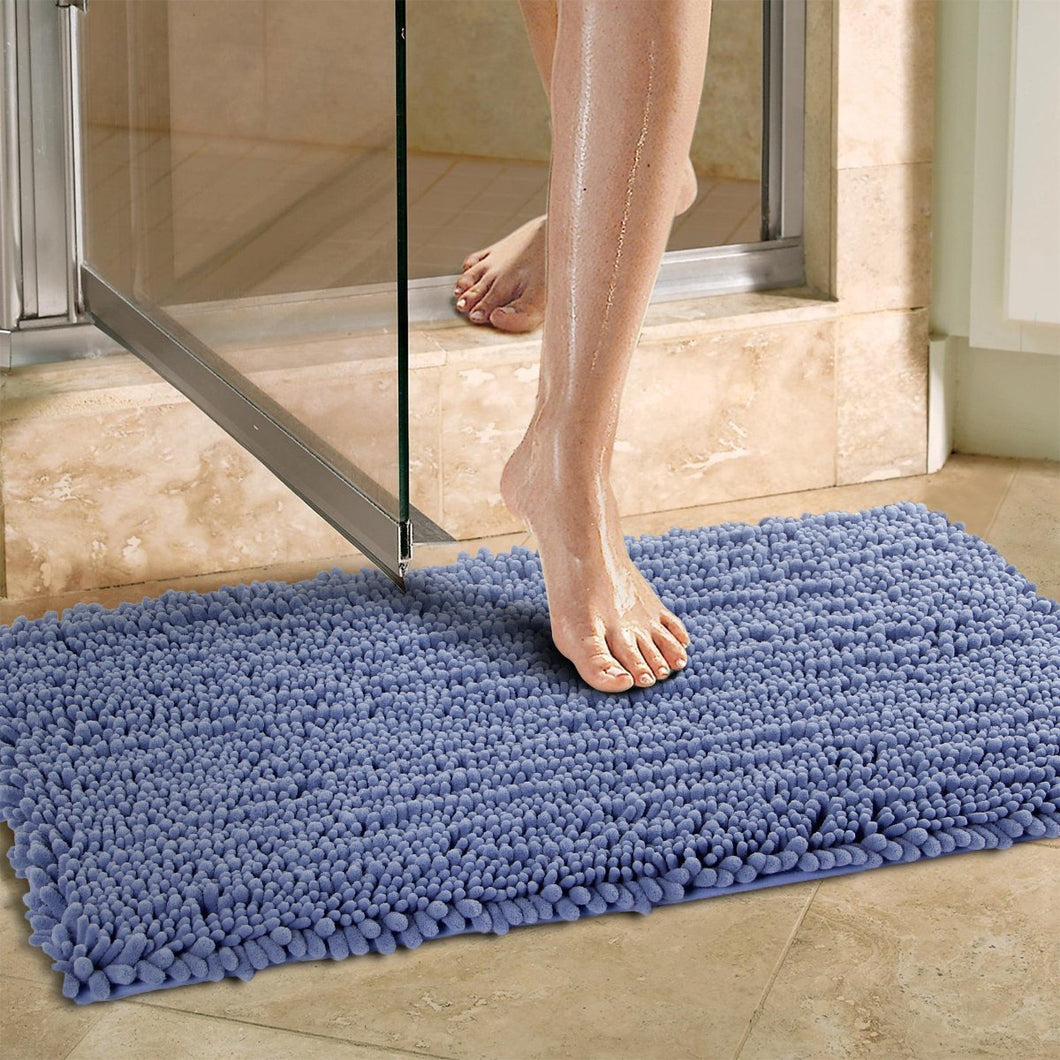 Norcho Non-slip Absorbent Microfiber Bathroom Soft Bath Mat 20 inch by 31 inch Blue