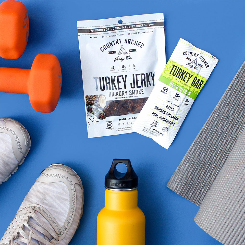 person working out with Country Archer turkey jerky and turkey sticks as a workout snack