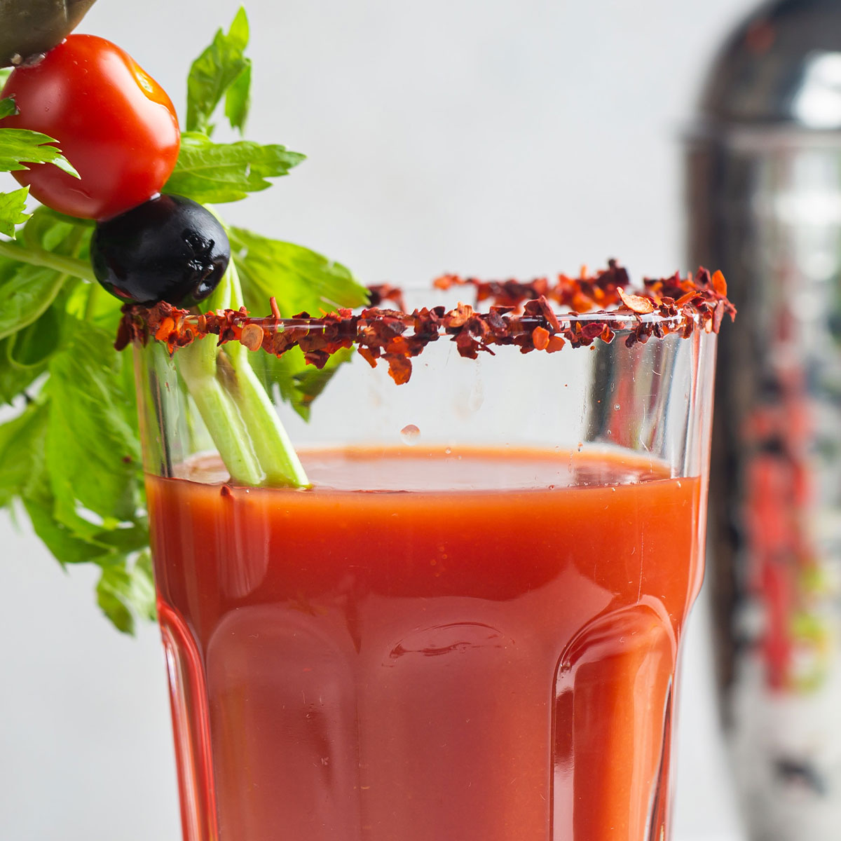 bloody mary brunch drinks with celery stalk garnishes