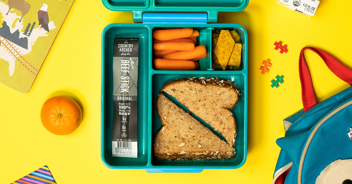 Country archer beef sticks inside a child's lunchbox at school