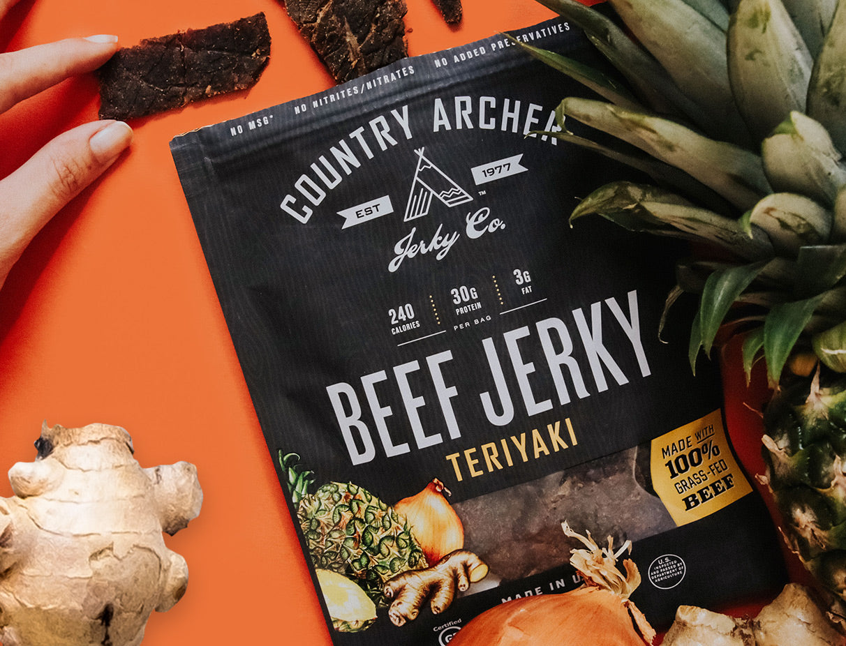 bag of Country Archer teriyaki beef jerky