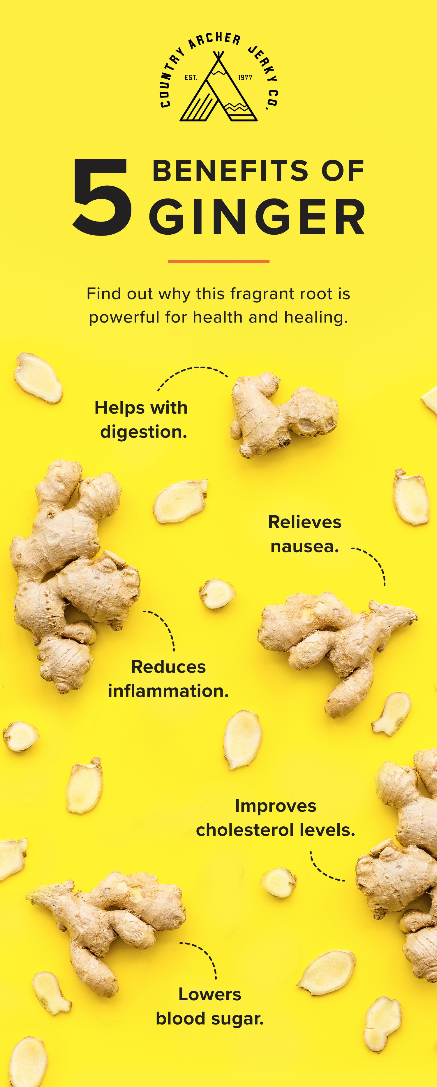 infographic for 5 benefits of ginger