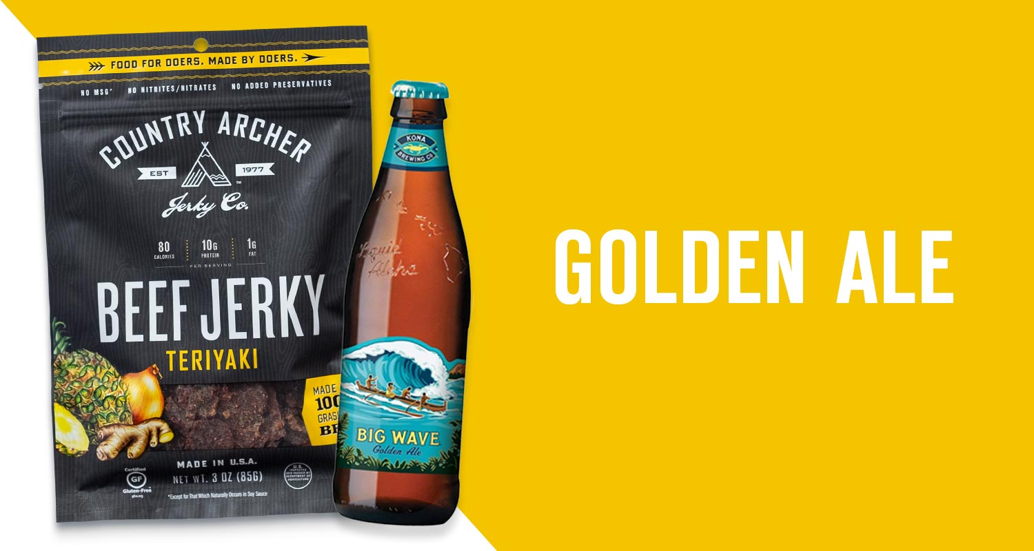 Teriyaki Beef Jerky & Kona Big Wave Golden Ale