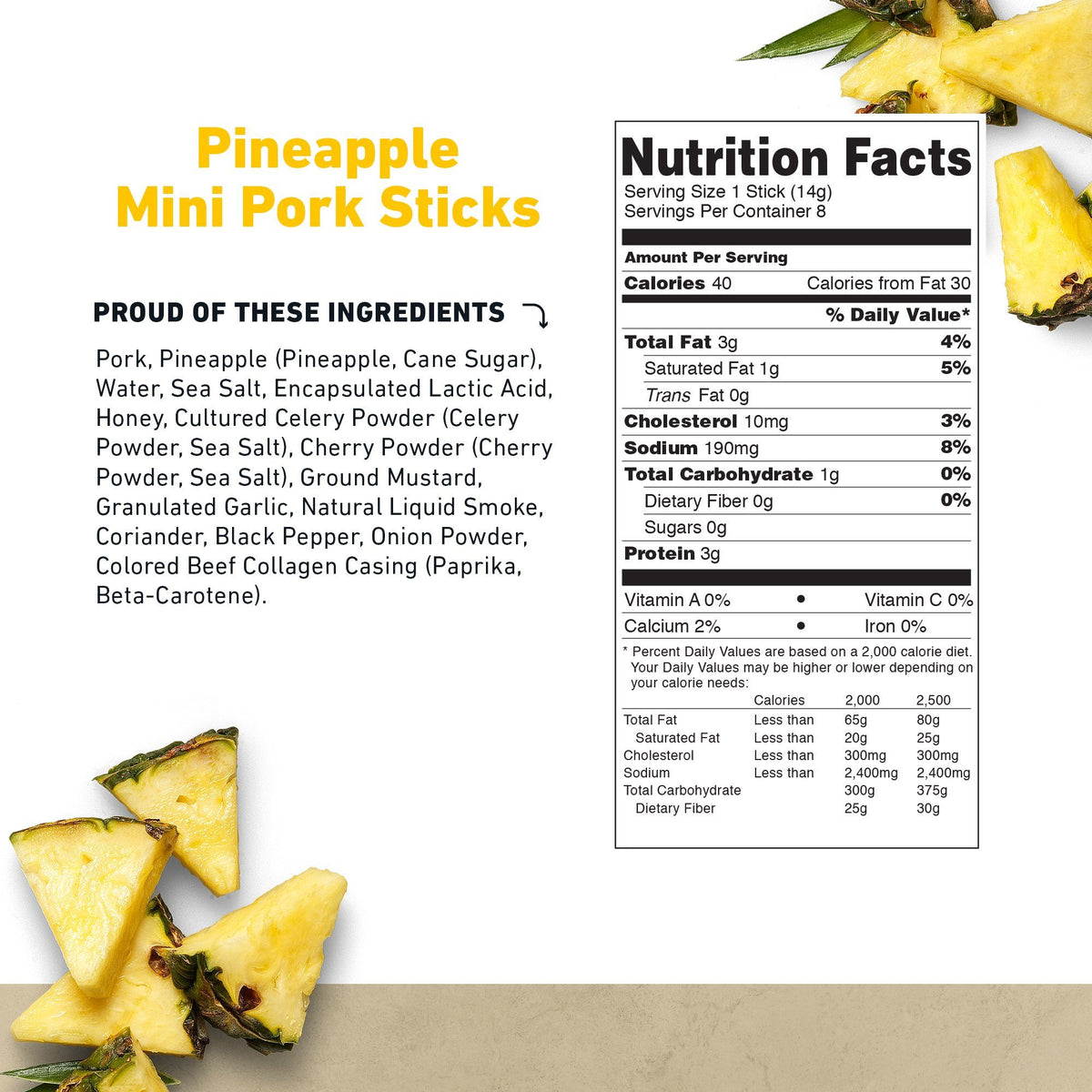 Mini Pork Stick Pineapple Nutritional Information- product carousel image