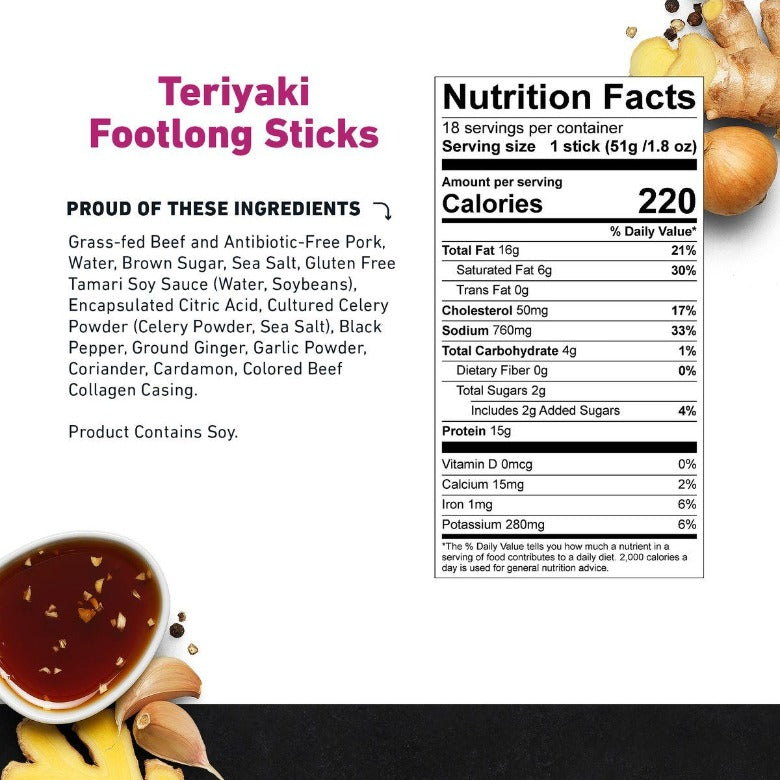 Teriyaki Footlong Beef & Pork Stick