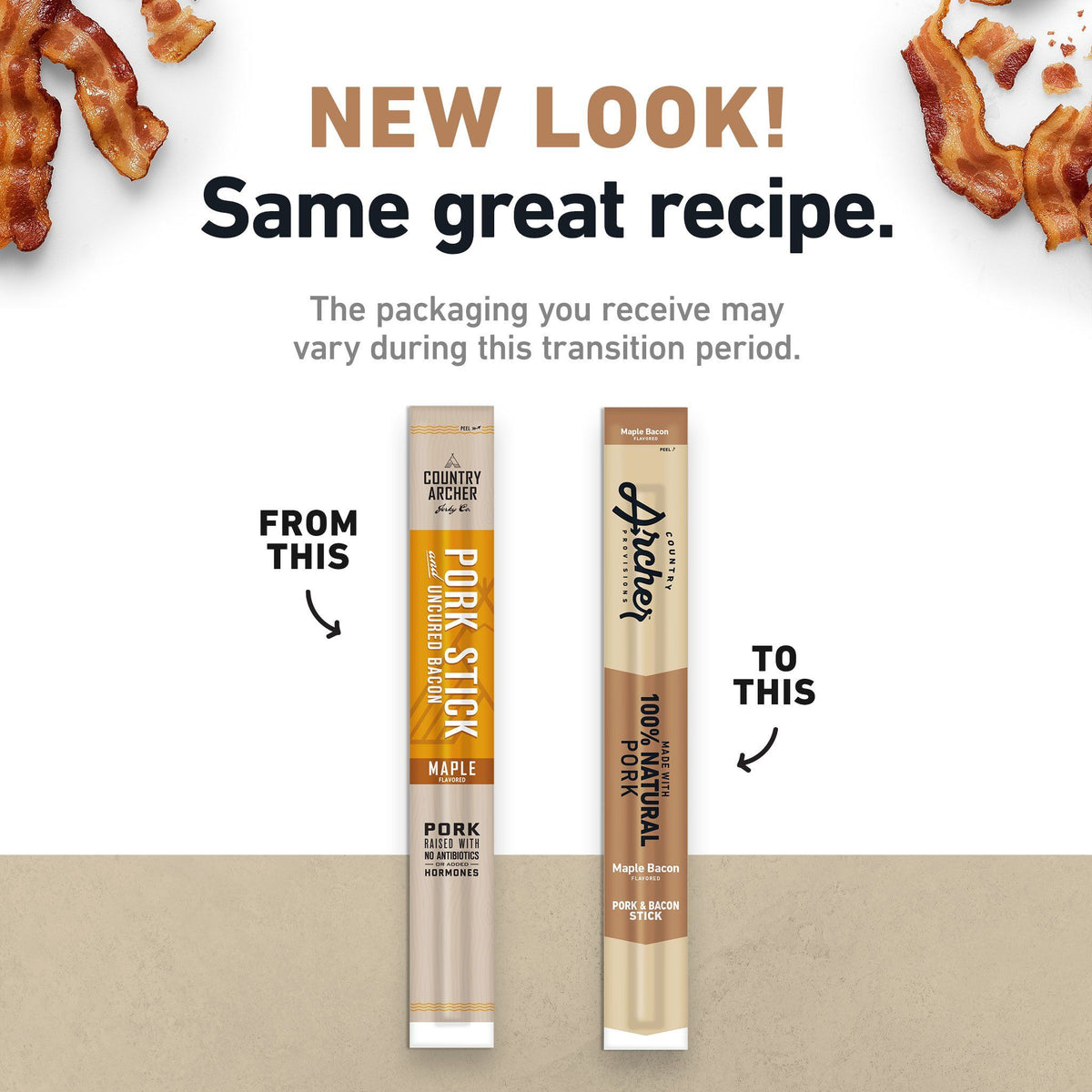 Pork and Bacon Meat Stick old packaging to new- product carousel image