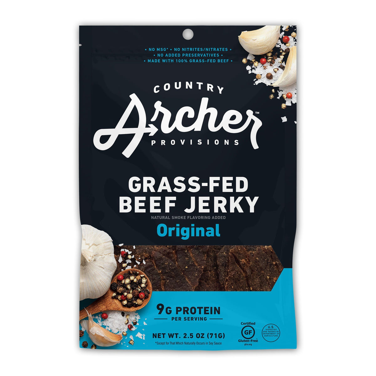 bag of Country Archer grassfed beef jerky Front
