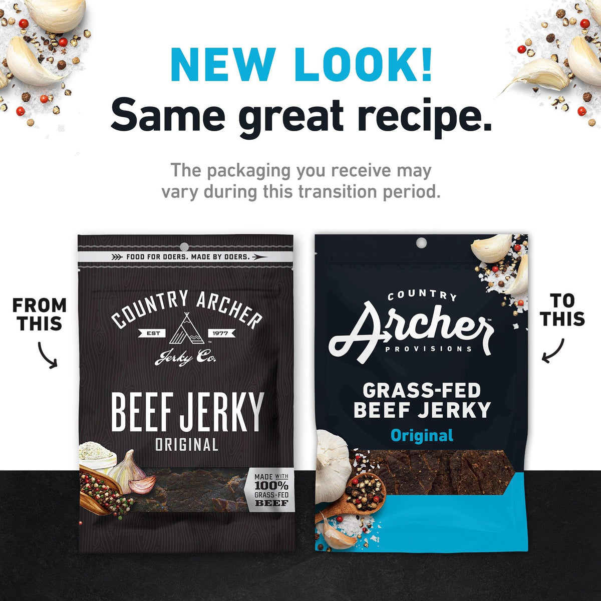 Grass-Fed Beef Jerky old packaging to new- product carousel image