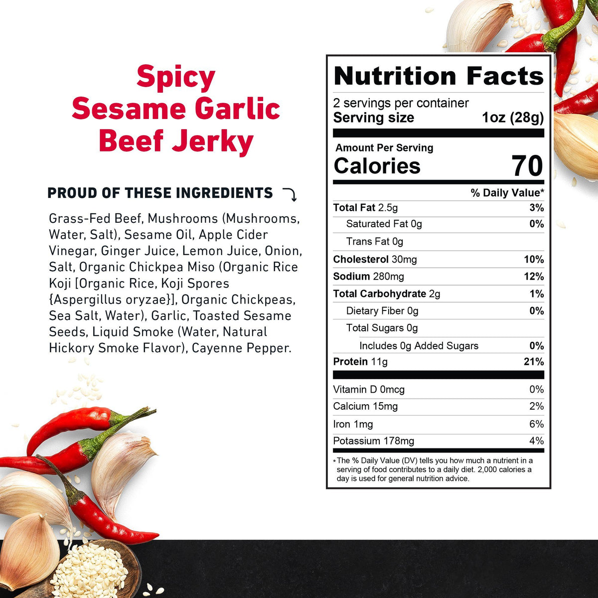 Zero Sugar Beef Jerky Spicy Sesame Garlic Nutritional Information