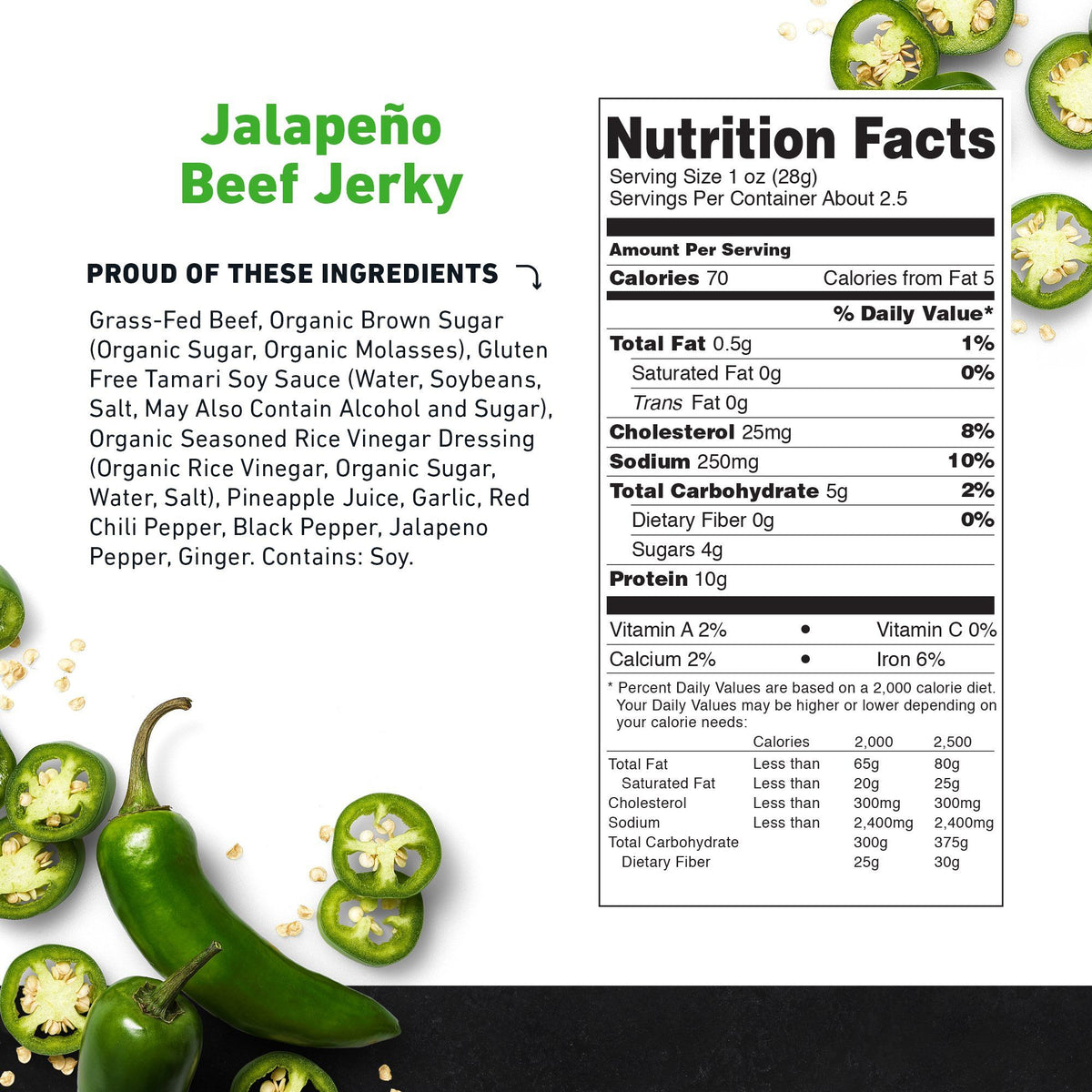 Jalapeno Beef Jerky Nutritional Information-product carousel image