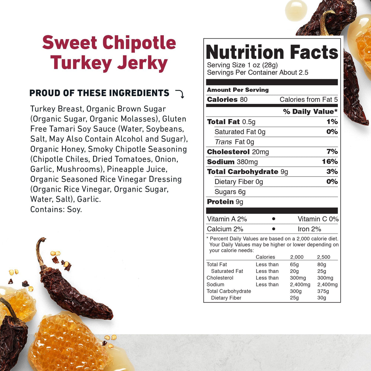 Turkey Jerky Sweet Chipotle Nutritional Information- product carousel image