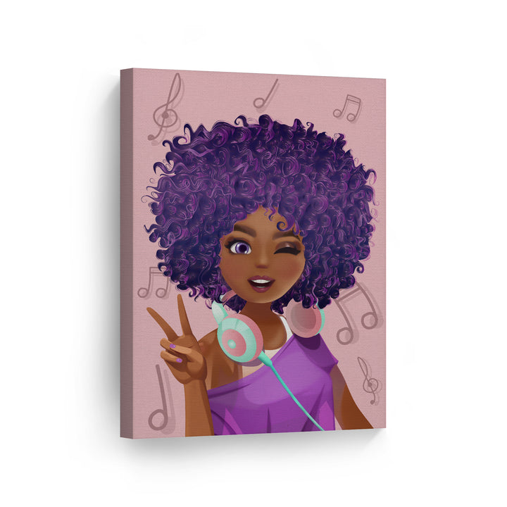 Purple Haired African Girl Earphones Pink Background Digital Painting African American Wall Art