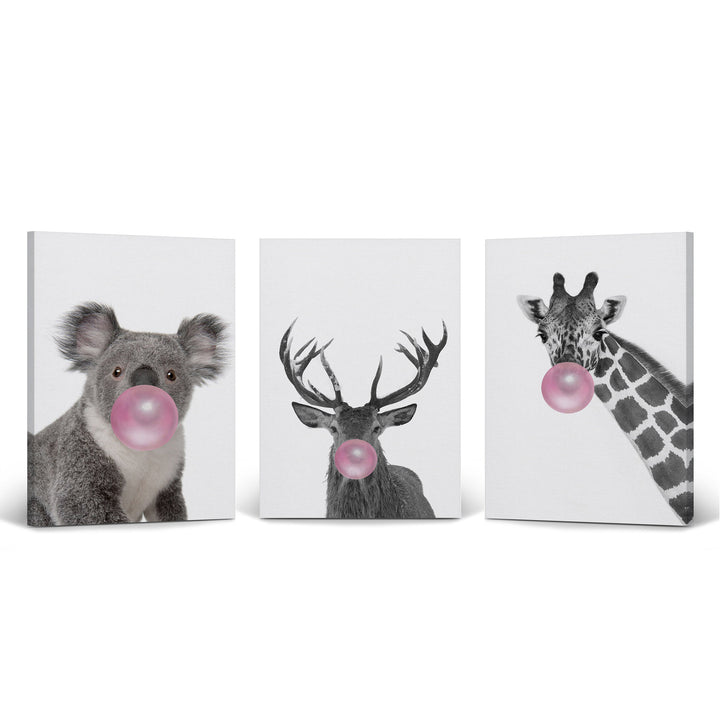 Reindeer Giraffe Koala Art Bubble Gum Pop Art Canvas Prints Metal Prints