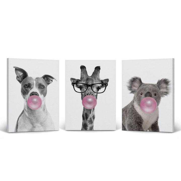 Pitbull Dog Giraffe Koala Art Bubble Gum Pop Art Canvas Prints Metal Prints