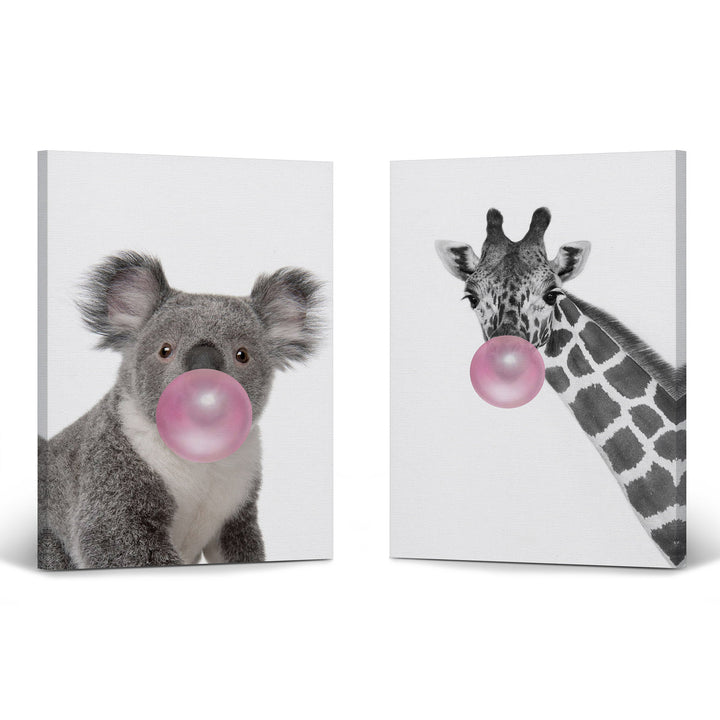 Koala Art and Giraffe Art Bubble Gum Canvas Prints Metal Prints