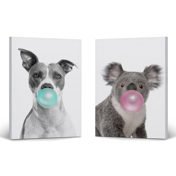 Pitbull Dog and Koala Art Bubble Gum Pop Art Canvas Prints Metal Prints