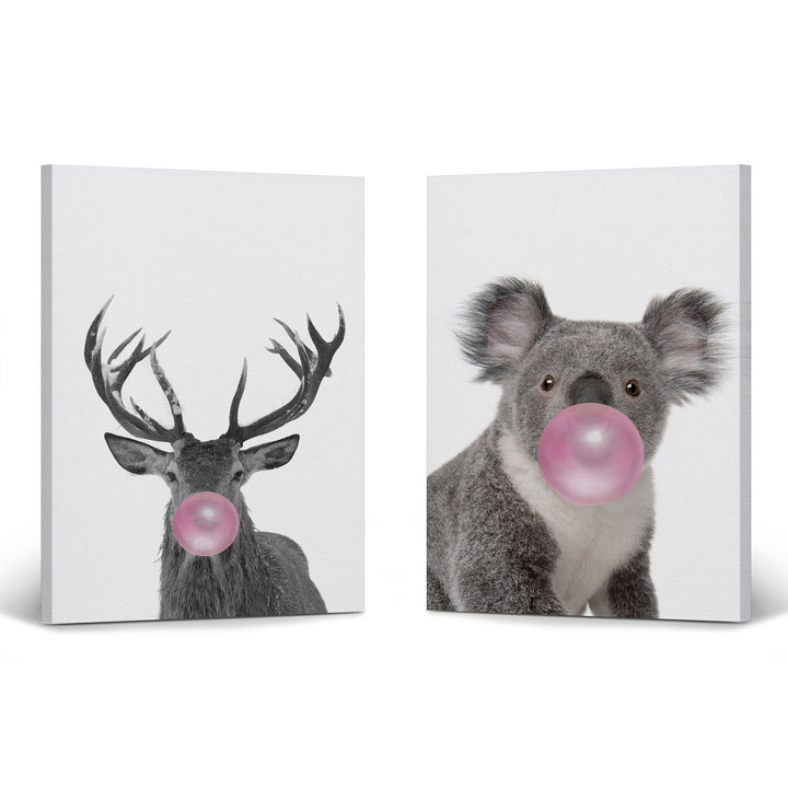 Reindeer and Giraffe Art Bubble Gum Pop Art Canvas Prints Metal Prints
