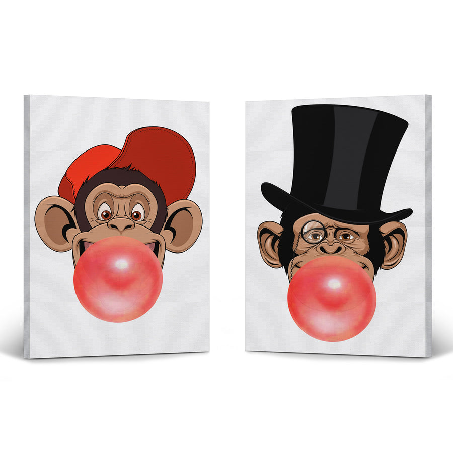 Funny DJ Monkey Art Bubble Gum Pop Art Canvas Prints Metal Prints