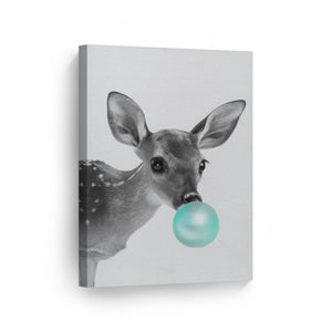 Baby Deer Bubble Gum Canvas Print Metal Print