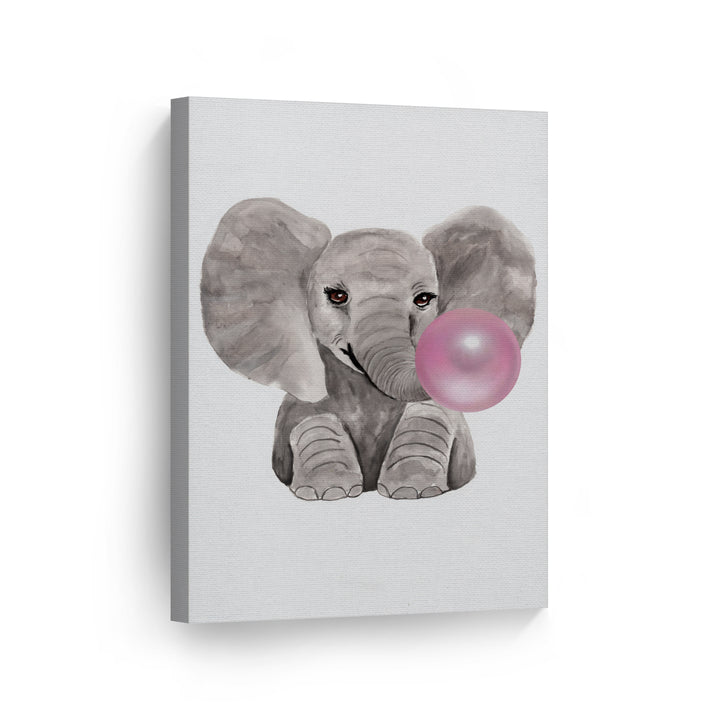 Elephant Drawing Bubble Gum Canvas Print Metal Print