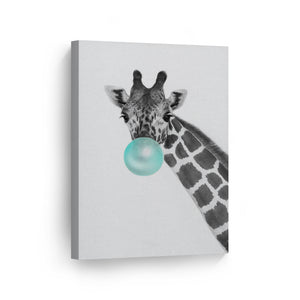 Giraffe Art Bubble Gum Canvas Print Metal Print