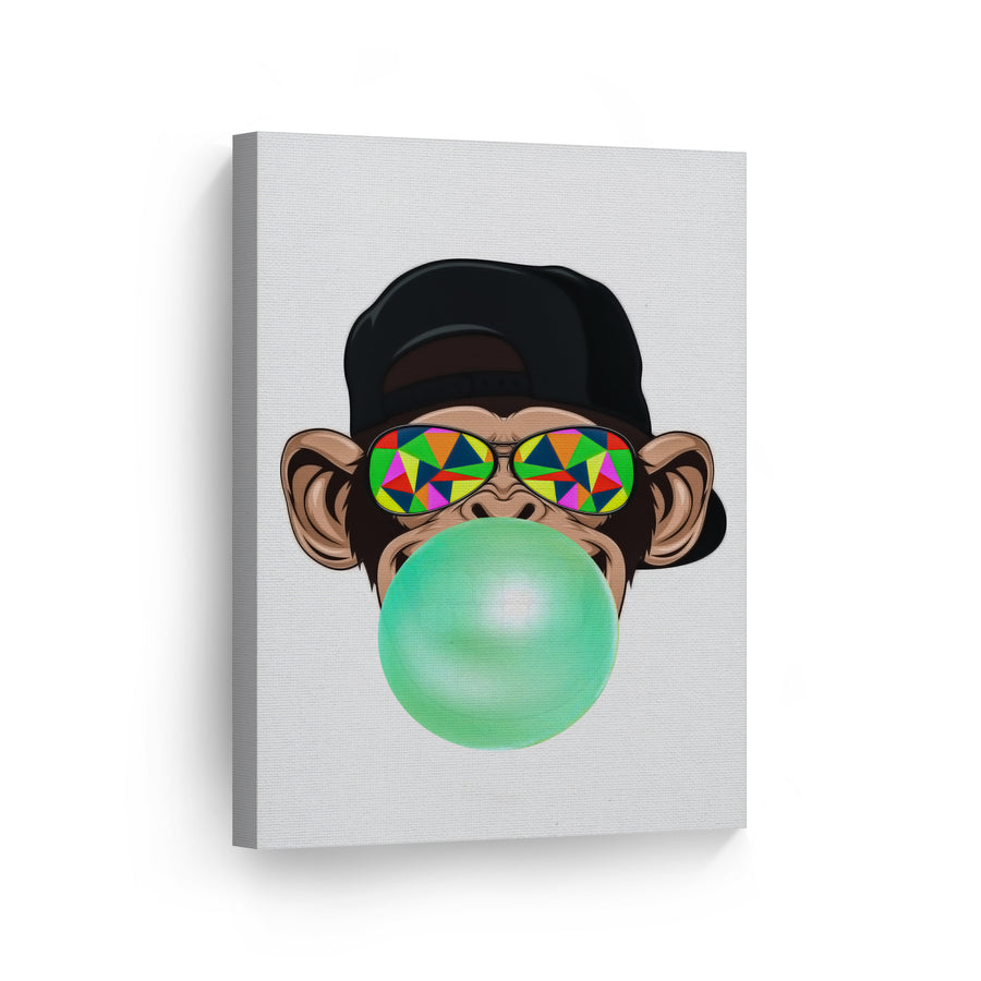Monkey Art Bubble Gum Canvas Print Metal Print