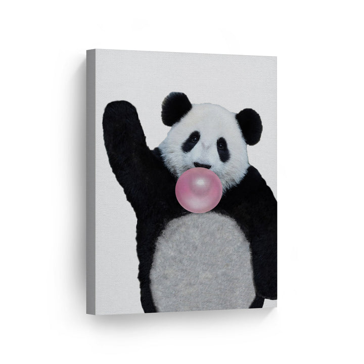 Panda Bubble Gum Canvas Print Metal Print
