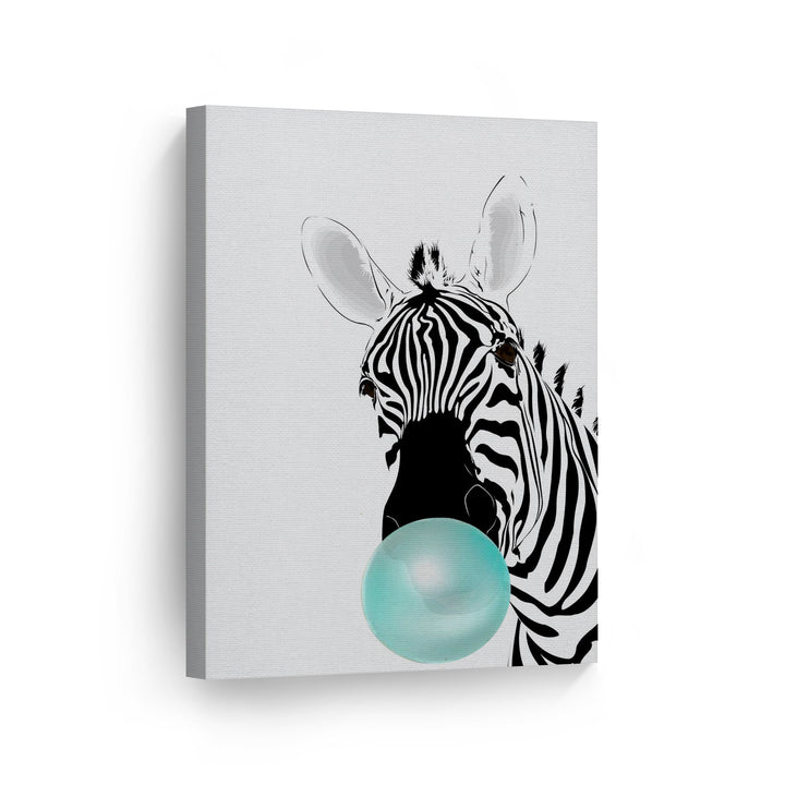 Zebra Bubble Gum Canvas Print Metal Print