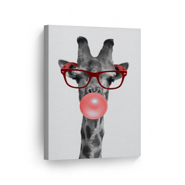 Giraffe Bubble Gum Canvas Print Metal Print