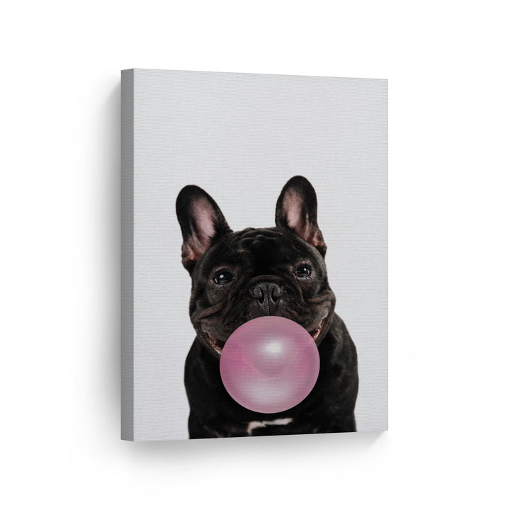 Bulldog Clip Art Bubble Gum Canvas Print Metal Print