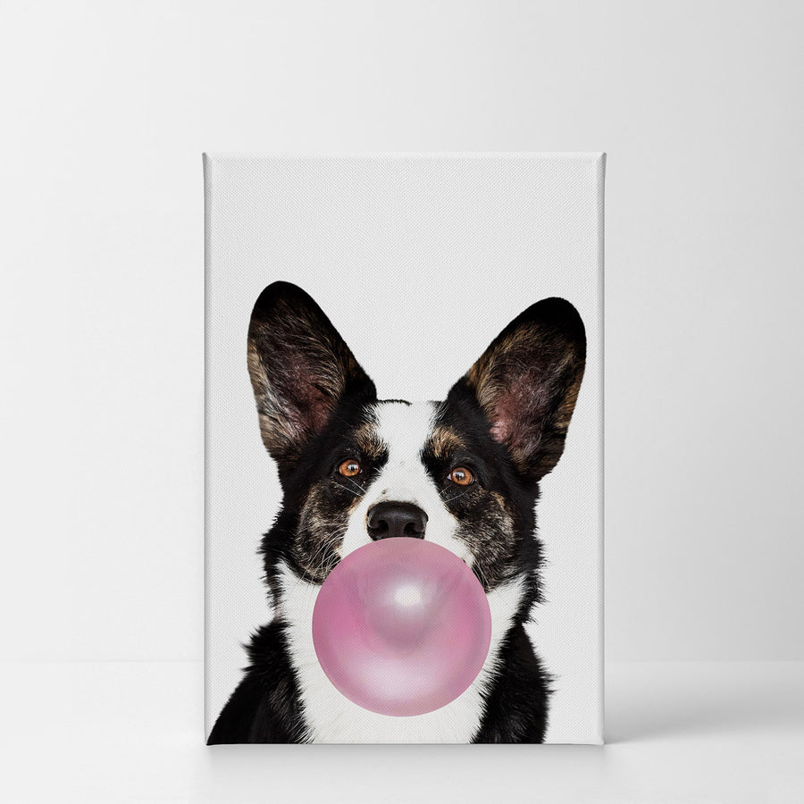 Corgi Art Bubble Gum Canvas Print Metal Print